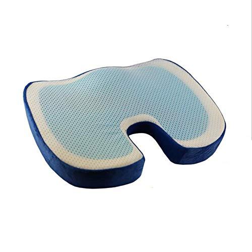 SJY Slow Rebound Memory Baumwoll Gel Kissen Eis Cool Bequeme Wärmeleitfähigkeit Gute Home-Büro-Auto-Esstisch U-Mat Hellgrün/Korb/Grau/Braun 46 * 36 * 6,5 Cm,Blue