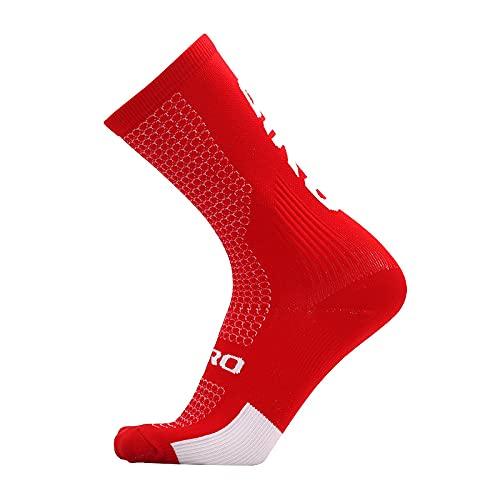 DNAEGH Calcetines Deportivos,Calcetines de Ciclismo, Calcetines Deportivos para Hombres, Mujeres, Calcetines de bádminton de Baloncesto de Malla.Rojo