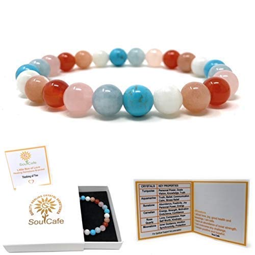 Thinking of You Bracelet - Missing You Gift - Healing Crystal Gemstones - Soul Cafe Gift Box & Tag