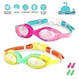 WOTEK Schwimmbrille Kinder 2 Stücke Schwimmbrille für Kinder-Antibeschlag UV-Schutz Wasserdicht Lecksicher Transparente HD-Linse, Einstellbar Weiches Kinder Schwimmbrille mit 4xOhrstöpsel(4-12 Jahre)