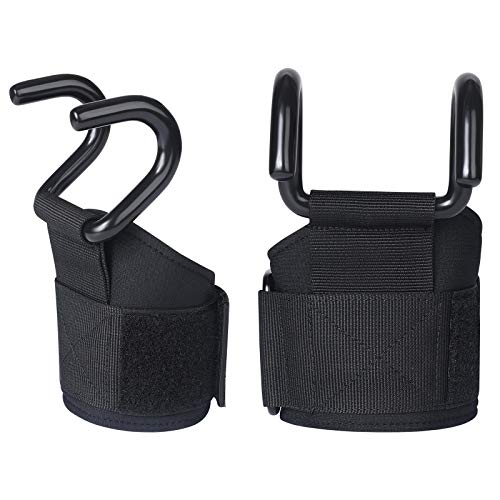 Heavy Hooks Wrist Wraps Weight, Lifting Hooks Duty Lifting for Men & Women Training Gym Grips Thick Padded Workout Straps with Steel Hooks for Deadlifts, Pull-ups, Power Lift (One Size Fits All)
