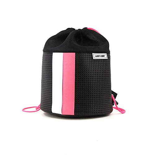 Uber Cool 'Sophy' Drawstring Backpack for Teen Girls & Women — Ergonomic, Breathable, Super Lightweight & Easy To Clean Kids Sports Bag — Customize It Yourself, Create, Express, Empower! — Black & Pink