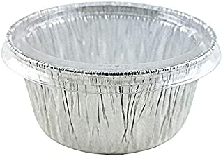 Pactogo 4 oz. Aluminum Foil Cup w/Clear Plastic Lid - Disposable Utility/Cupcake/Ramekin/Muffin Baking Tins (Pack of 50 Sets)