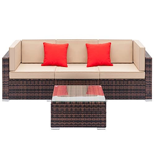 QIANYU Fully Equipped Weaving RATT Fully Equipped Weaving Rattan Sofa Set with 2pcs Corner Sofas & 1pcs Single Sofas & 1 pcs Coffee Table Brown Gradient