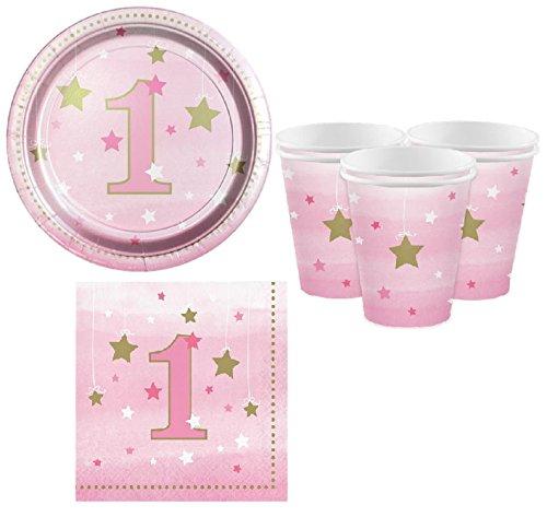 Fancy Me Mädchen-Rosa-Stern-hübsche Partei-Geburtstags-Feier-1. Geburtstags-Papiergeschirr-Dekorations-Zusätze (1. Geburtstag Geschirr Set)