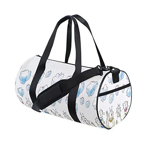 ZOMOY Sporttasche,Baby Katzen, die mit Kragen Druck sitzen,Neue Bedruckte Eimer Sporttasche Fitness Taschen Reisetasche Gepäck Leinwand Handtasche