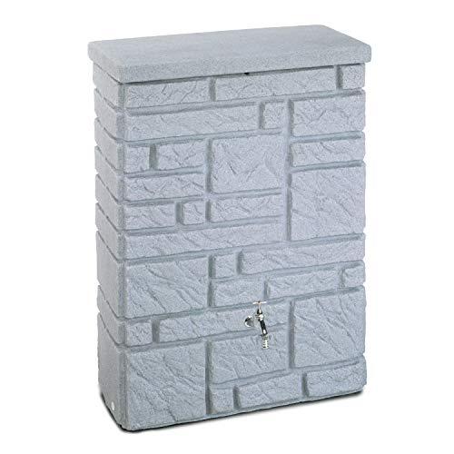 Regentonne Regenwassertank Maurano 300 Liter granit grau aus UV- und witterungsbeständigem Material. Regenfass bzw. Regenwassertonne mit kindersicherem Deckel und hochwertigen Messinganschlüssen