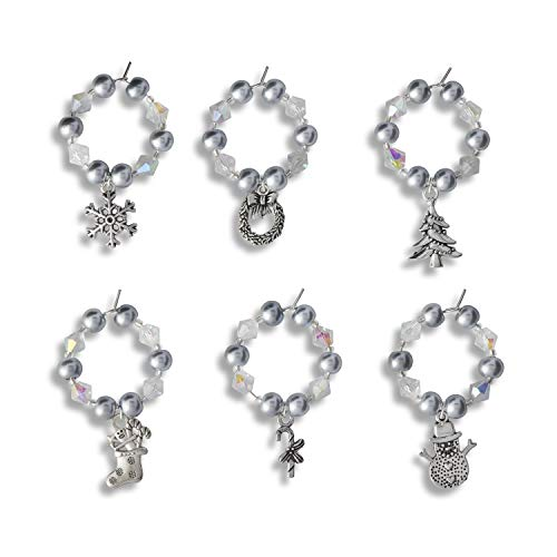 Premium Christmas Wine Glass Charms Set of 6 - Unusual Christmas Gifts for Women Xmas Gifts for Mum Presents for Women Gifts for Her Stocking Fillers for Wife Gift Ideas for Couples Gifts for Friends