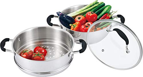 AVACRAFT 18/10, 3 Piece Stainless Steel Steamer Cooking Pot Set, Steamer for Cooking, Everyday Pan, Steamer Pan Set, with Glass Lid, Induction Cooktop Pan