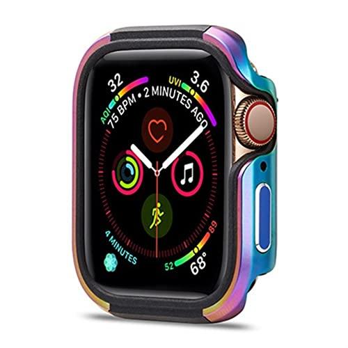 ZAALFC Funda protectora para Apple Watch TPU+metal de 38 mm, 40 mm, 42 mm, 44 mm, carcasa protectora de metal para parachoques de 7/SE/6/5/4/3/2/1 (color: colorido, tamaño: 38 mm)