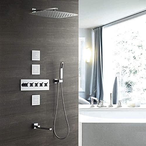 Juego de ducha termostático cuadrado plateado empotrado en la pared Grifo de ducha de cobre 35 55 cm Toldo sobrealimentado Rociador superior Sistema de ducha con descarga posterior 4 funciones Delicad