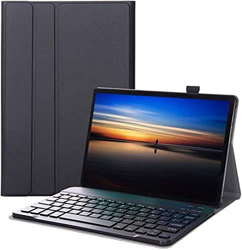 Funda con Teclado para Galaxy Tab A 10.1 2019 T510 T515 T517, Carcasa Delgada Y Ligera con Teclado Inalámbrico Desmontable Magnéticamente para Galaxy Tab A 10.1 Pulgadas,Black