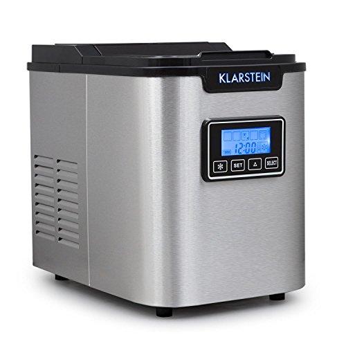 Klarstein Icemeister - Ice Maker, Macchina del ghiaccio, 12 kg/24 h, 150 Watt, 3 dimensioni del cubo, preparazione in 10-15 min, 1,1 litro serbatoio di acqua, Timer, Display LCD, LED, Nero