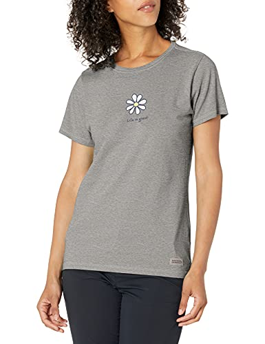 Life is Good Women's Vintage Crusher Graphic T-Shirt, Daisy, Heather Gray, Small