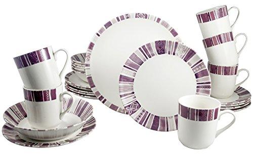 Tudor 24-Piece Premium Quality Round Porcelain Dinnerware Set, Service for 6 - BOHEME PURPLE, See 10 Designs Inside!