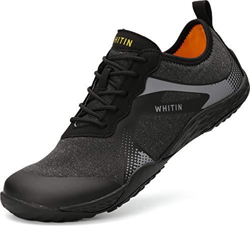 WHITIN Herren Barfussschuhe Traillaufschuh Barfuss Schuhe Barfußschuhe Barfuß Barfußschuh Minimalistische Zehenschuhe Trekkingschuhe Laufschuhe für Männer Jungen Fitness Schwarz gr 43 EU