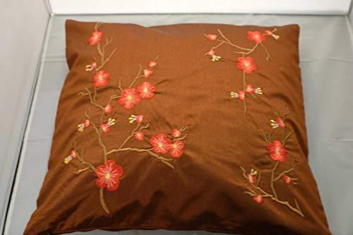 Fine Asianliving Chinese Kussen Sakura Kersenbloesems Bruin 40x40cm Decoratieve Sierkussens Kussenslopen Katoen vulling Chinees Japans Oosters