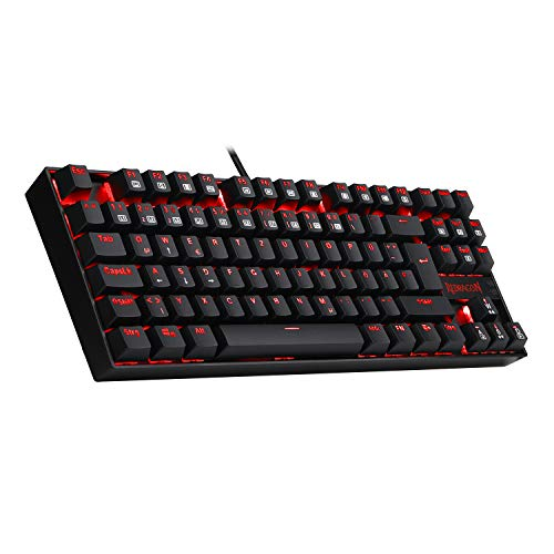 REDRAGON K552-DE Gaming Tastatur Mechanische Ergonomische Tastatur Kumara RGB LED Rot Beleuchtet Mechanische Tastatur ohne Nummernblock 87 Tasten Blue Switches für Gaming (Deutsch QWERTZ Layout)