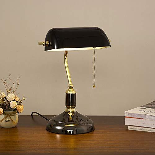 QJUZO Vintage Schwarz Tischlampe mit Zugschalter,Antik Metall Bankers Lampe,Bürolampe mit Einstellbar Glasschirm,Retro Klassische Bibliothekslampe für Schlafzimmer Wohnzimmer Bar Restaurant,E27