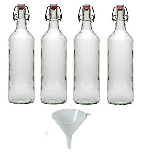 Viva Haushaltswaren - 4 x Glasflasche 1000 ml mit Bügelverschluss aus Porzellan zum Befüllen, als Milchflasche und Saftflasche verwendbar (inkl. Trichter Ø 12 cm)