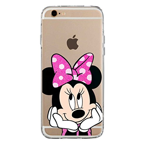 SLIDE IP6 6S Cover in TPU Gel Trasparente Custodia Protettiva, Glitter Fluo Special Collection, Disney Minnie Mouse, iPhone 6 6S