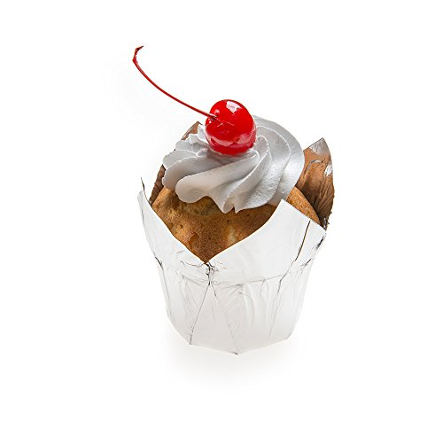 Petal Baking Cup, Tulip Style Baking Cup, Paper Baking Cup - Luxury Look Metallic Silver - 1.5 Inch, 1.2 Ounce - 200ct Box - Restaurantware