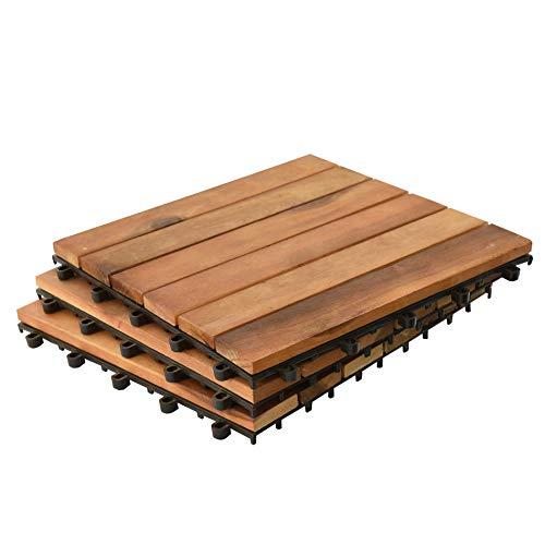 Holzfliesen Terrassenfliesen Fliesen Holz Mosaik 30x30 cm Balkonfliesen Akazienholz Akazie Stecksystem Klicksystem Terrasse Balkon (1m²)