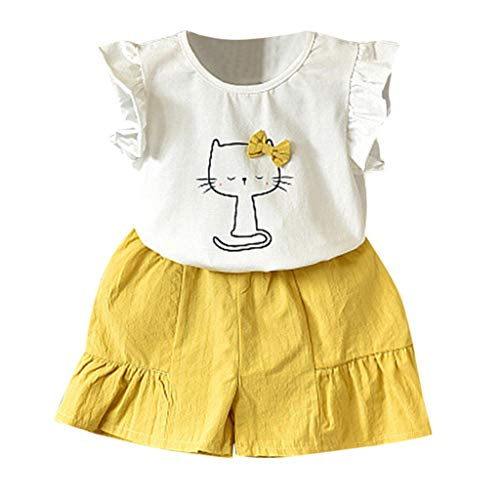 YUAN YUAN Baby Kleidung Mädchen, Kleinkind Kinder Outfits Kleidung Katze Bowknot T Shirt Tops Shorts Hose Set