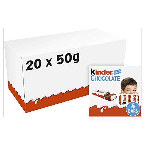 20 Confezioni Di Kinder Cioccolato Da 4 Barrette Da 50 Grammi Snack Pacco Intero