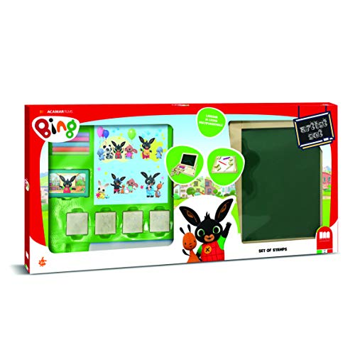 Multiprint Set Artista Bing, Pizarra de Doble Uso con Tizas 100% Made in Italy, Papel y Marcadores, Set Sellos Niños, Kit de 5 Sellos en Madera y Caucho Natural, Idea de Reaglo Art. 80987