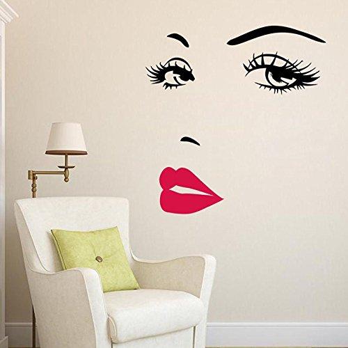 Hrph 3D-Wände DIY Schönes Gesicht Augen und Lippen-Wand-Aufkleber Malerei Room Home Decor Wohnzimmer Wandaufkleber Vinyl-Aufkleber
