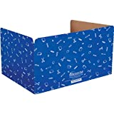 Really Good Stuff Standard Privacy Shields for Student Desks – Set of 12 - Matte - Study Carrel Reduces Distractions - Keep Eyes from Wandering During Tests, Blue with School Supplies Pattern