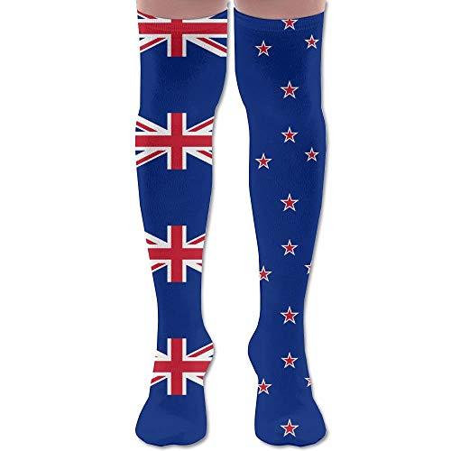 Nieuw-Zeeland Vlag Voetbal volwassen knie hoge sokken