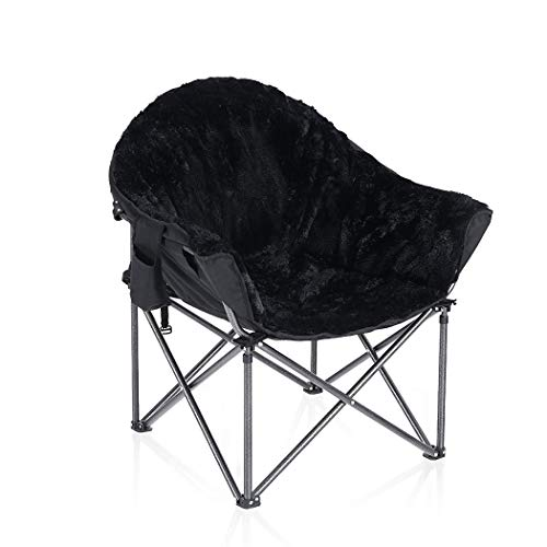 Camping Folding Moon Chair, ALPHA CAMP Oversized Comfy Saucer Plush Moon Chairs with Portable Carry Bag For Camping, Garden, Fishing - Support 160kg, Black