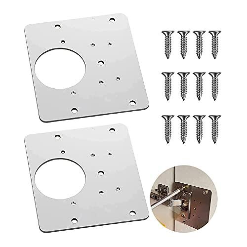 Placa de reparación de bisagra de puerta de gabinete, placa de fijación de reparación de bisagra, placa de instalación, utilizada para muebles, gabinetes de puerta, gabinetes, armarios (2 piezas)