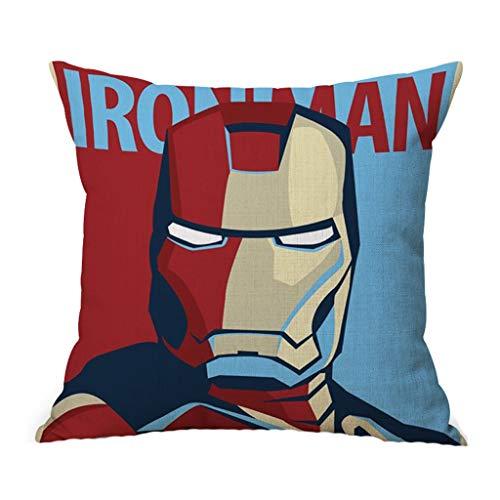 MIAOLIDP Superheld Spider-Man Iron Man Superman Sofa Kissenbezug Bürostuhl Sitz Captain America Captain Unterstützung, Kissen, (Color : E, Size : 45CM)