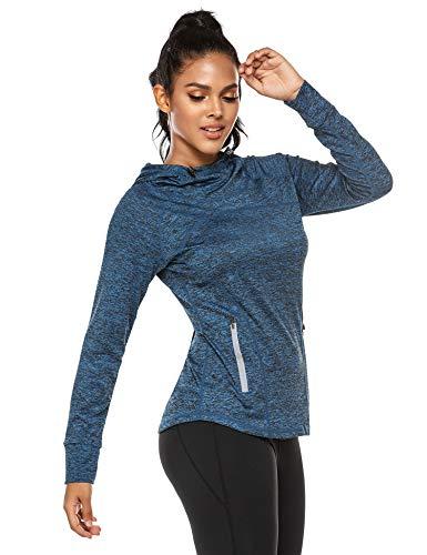 ADOME Damen Langarm Sporttop Sportshirt Sweatshirt Laufshirt Funktionsshirt Laufen Yoga Tops Übung Schutz Activewear mit Hut und Reißverschlusstasche