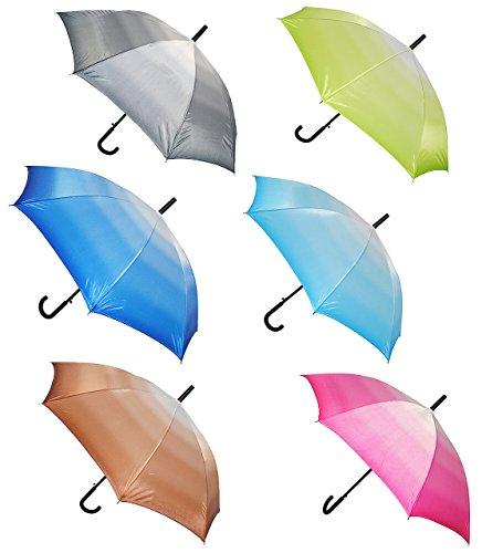 alles-meine.de GmbH 2 Stück _ Automatik - Regenschirme -  einfarbig - Batik - Regenbogen  - ø 110 cm - Schirm - Stockschirm für - Damen & Herren / Erwachsene - Frauen - Partner..