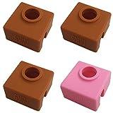 3D-Druckersocken, kompatibel mit MK7 MK8 MK9 Makerbot Heizblock, AFUNTA hohe Temperaturbeständigkeit, Silikon-Schutzhülle für 3D-Drucker Extruder, 3 Kaffeefarben und 1 Rosa, 4 Stück