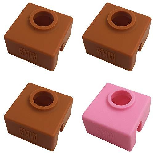 4 unidades de calcetines de impresora 3D compatibles MK7 MK8 MK9 Makerbot calentador Block,AFUNTA alta resistencia a la temperatura silicona protección caso para impresora 3D extrusora 3 café 1 rosa