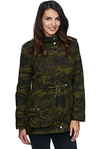 Rock Creek Damen Army Jacke Camouflage Winterjacke Mantel Parka Warm Gefüttert Militärjacke Damenjacken Teddyfutter D-243 Grün S