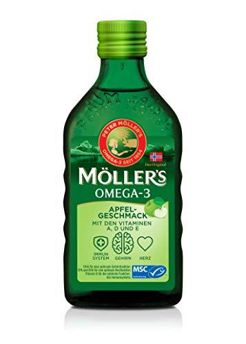 Möller's Omega 3 Lebertran | Nordic Omega 3 6 9 Nahrungsergänzung mit EPA, DHA, Vitamin A, D und E | Hochreiner natürlicher Lebertran | 165 Jahre alte Marke | Superior Taste Award | Apfel | 250 ML