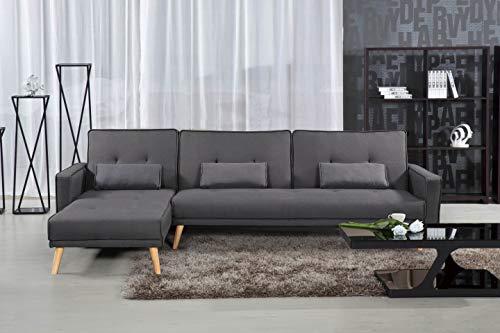 Canapé d'angle Gris Tissu Design