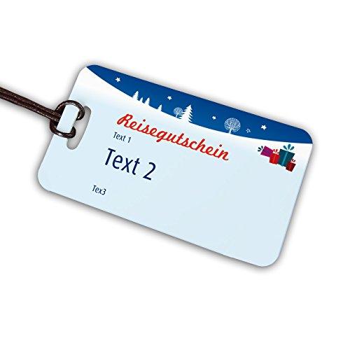 Herz & Heim® weihnachtlicher Kofferanhänger als Reisegutschein mit Ihrem Wunschtext