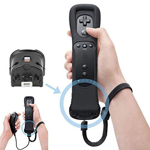 Wii Motion Plus Adapter und Silikonhülle für Nintendo Wii Fernbedienung Externer Zubehör Adapter Accelerator Handle Sensator Accelerator Motionplus für Wii U Wii Controller, Schwarz