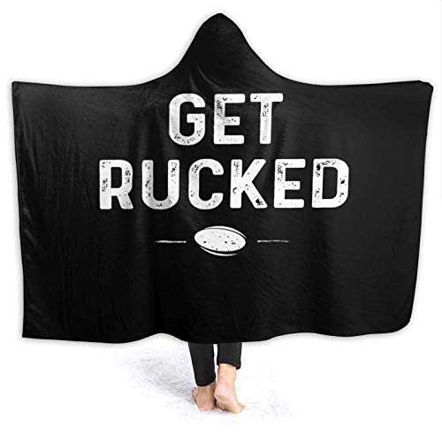 XCNGG Manta con Capucha Hooded Blanket Throw Get Rucked Rugby Super Soft Sherpa Fleece Blanket Hood Poncho Cloak Cape