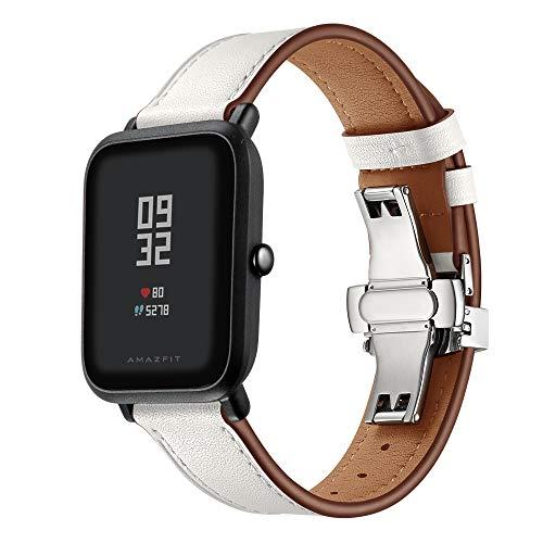 XZZTX Lederen Band Compatibel met Amazfit Bip GTS/Galaxy Horloge Actief/Galaxy Horloge 42mm/Garmin Vivoactive 3 Smartwatch, 20mm vervangende Horlogeband
