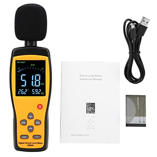 Medidor de ruido, SENSOR INTELIGENTE AS844 + Medidor de nivel de sonido LCD Medidor de decibelios digital Monitor de ruido con función de almacenamiento de datos
