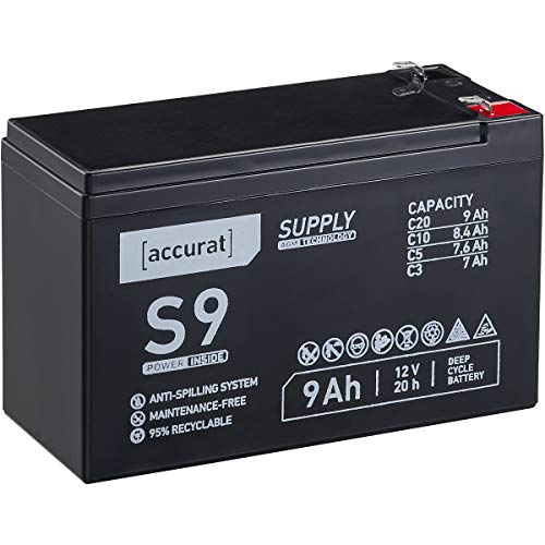 Accurat 12V 9Ah Blei-Akku AGM Blei-Batterie Zyklenfest Supply-Serie VRLA Versorgungsbatterie S9 (wartungsfrei)