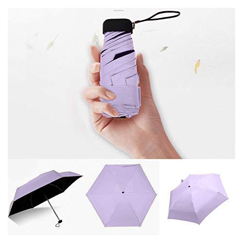 SHUAN QIAO Pocket da Giorno piovoso Ombrello Mini Pieghevole ombrelloni ombrelloni Parasole Sole Pieghevole Ombrello Mini Ombrello Caramelle Colore in Viaggio a Pioggia (Color : Purple a)
